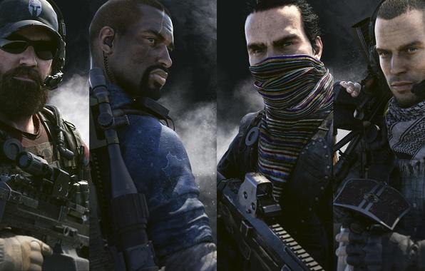 Picture look, weapons, smoke, watch, headphones, mask, team, cap, beard, friends, Ubisoft, fighters, Ghost Recon, Tom …