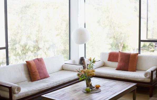 Picture flowers, design, table, room, Windows, lamp, interior, pillow, beautiful, fresh, light, sofas, vase