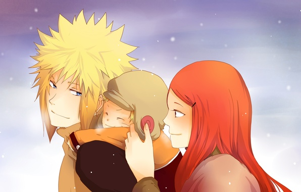 Picture winter, the sky, eyes, look, snow, family, Anime, Naruto, Naruto, Anime, mom, son, dad, Kushina …