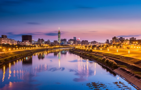 Picture the sky, light, city, the city, lights, lights, reflection, river, China, the evening, pink, lights, …