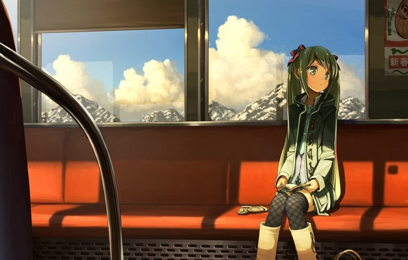 Picture girl, clouds, mountains, train, art, the car, seat, vocaloid, hatsune miku, Vocaloid, mittens, posters, domo1220