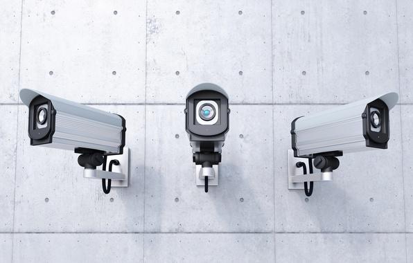 Photo wallpaper security, control, wall, security cameras