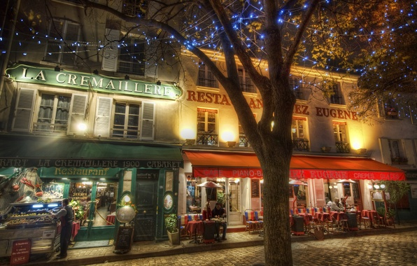 Picture lights, people, street, France, La Cremaillere