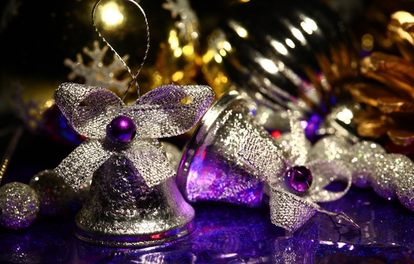 Picture macro, holiday, new year, purple, bows, new year, bells, Christmas decorations, silver