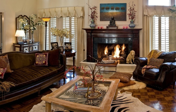 Picture room, sofa, fire, Windows, dog, picture, chair, curtains, table, statuetka, living room, blinds, room, interior, …