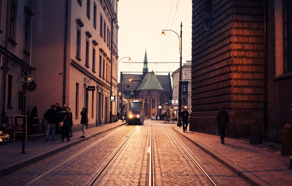 Picture cathedral, street, people, Poland, tram, church, Krakow