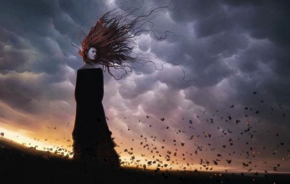 Picture girl, the wind, hair, Leaves