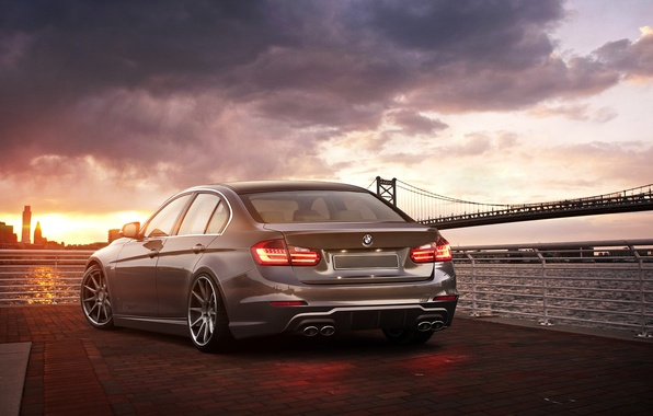 Picture sunset, BMW, bridge, 335i, rear, F30, 3 Series