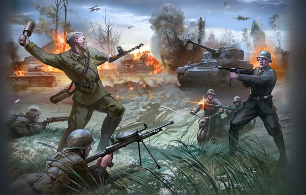 Picture the plane, war, USSR, soldiers, tank, Russian, the Germans