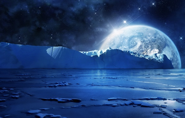 Picture cold, ice, sea, water, stars, night, planet, ice, ice