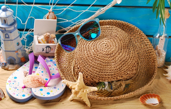 Picture sand, beach, summer, stay, hat, glasses, shell, summer, beach, sand, marine, still life, vacation