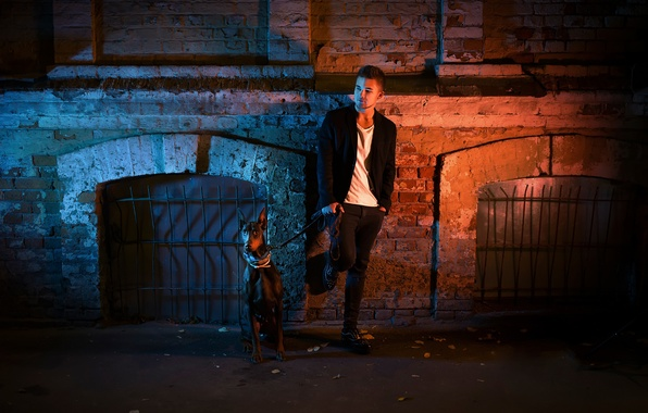Picture night, the city, street, dog, guy