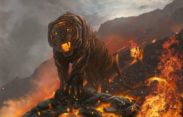 Picture cat, mountains, tiger, fire, art, mouth, lava