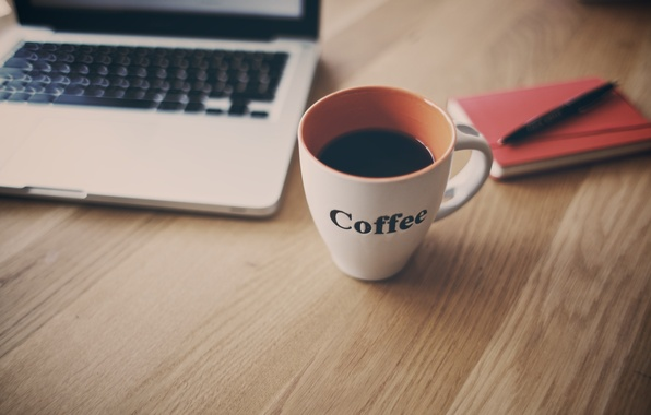 Picture table, coffee, mug, Cup, notebook, netbook