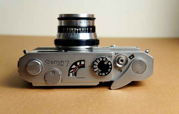 Picture background, the camera, lens, shutter, Canon 7, aperture, the shutter button, Industar-61, the lever rewind