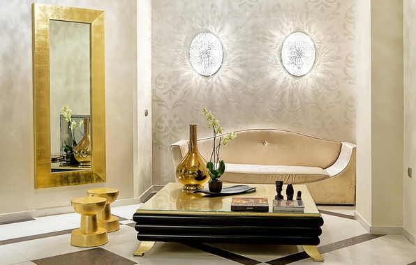 Picture flower, Table, mirror, book, vase, sofa, Orchid