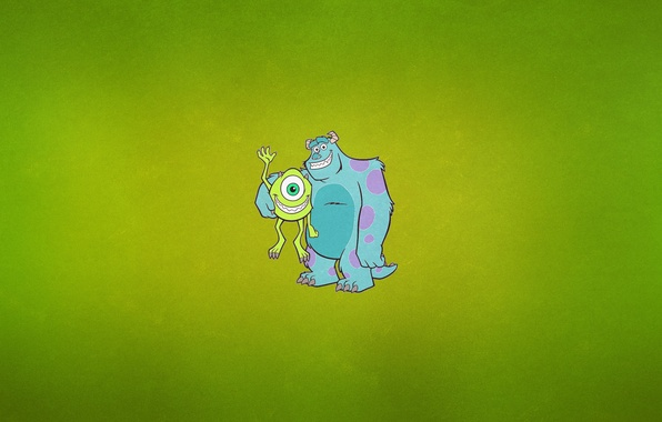 """Picture blue, minimalism, horns, one-eyed, Monsters Inc., greenish background, Cyclops, Monsters Inc, James P. """"Sully"""" Sullivan, …"""