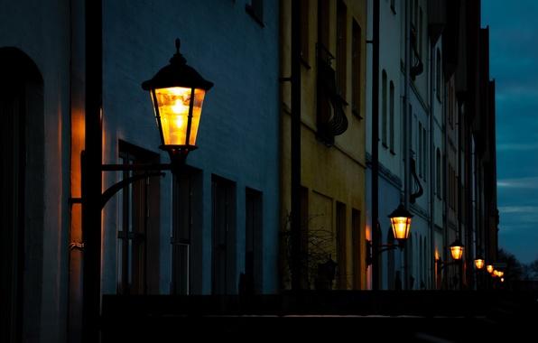 Picture light, night, the city, street, home, the evening, lighting, lights, Sweden, Sweden, Hjärup