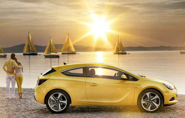 Picture water, the sun, sunset, yellow, romance, shore, coupe, yachts, sails, Astra, Yellow, opel, Opel, astra, …