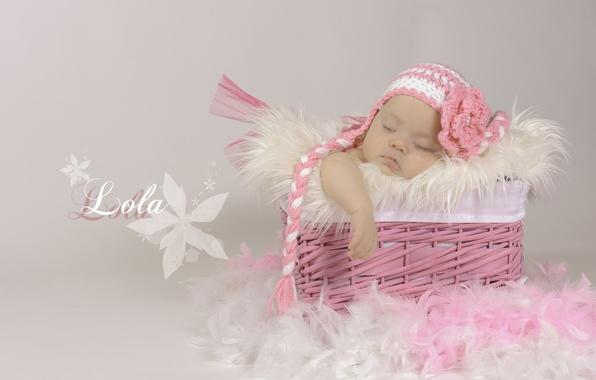 Picture basket, sleep, feathers, girl, cap, baby, Spada