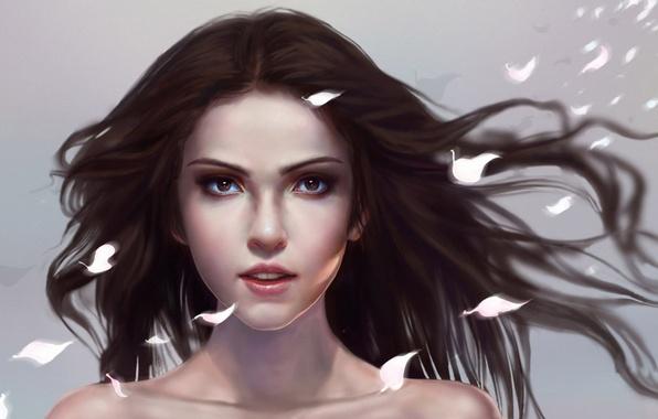 Picture girl, face, hair, petals, art