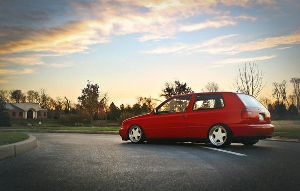 Picture the sky, clouds, red, volkswagen, profile, red, Golf, golf, Volkswagen, MK3