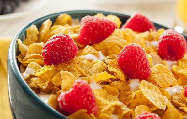 Picture berries, raspberry, Breakfast, cereal