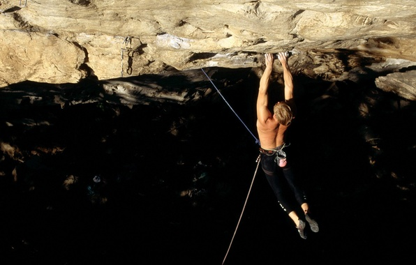 Picture rock, male, rope, climber, climbing, insurance