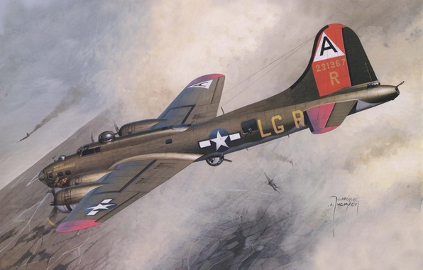 Picture the sky, figure, art, bomber, American, aircraft, heavy, dogfight, WW2, Boeing B-17 Flying Fortress, four-engine