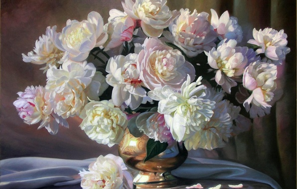 Picture flowers, bouquet, picture, petals, fabric, vase, white, still life, peonies, Zbigniew Kopania