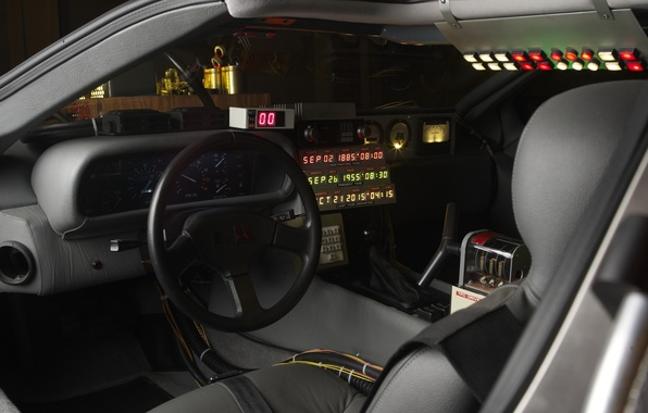 Picture Dashboard, Delorean, Back to the future, Time machine, Time machine, The workplace of temponauta