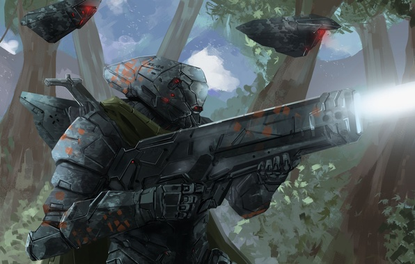 Picture weapons, robots, art, soldiers, armor, Peter Balogh