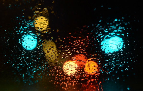 Picture glass, drops, light, background
