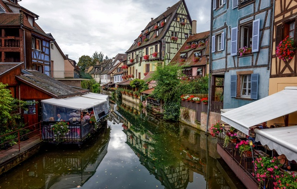 Picture the sky, flowers, France, home, channel, cafe, Colmar, Fachwerk
