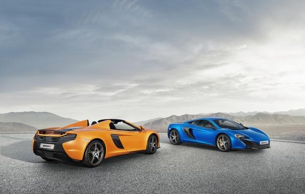 Picture McLaren, Blue, Orange, Orange, Blue, Coupe, Spyder, Supercars, Supercars, 2014, 650S