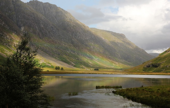Picture mountains, nature, river, tree, rainbow, Scotland, UK, Paul Beentjes Photography, highlands, River Coe