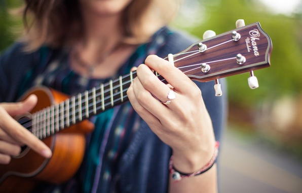 Picture girl, guitar, strings, ring, fingers, Grif, musical instrument