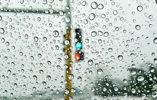 Picture glass, water, drops, rain, street