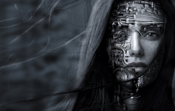 Picture look, girl, face, hair, robot, black and white, monochrome