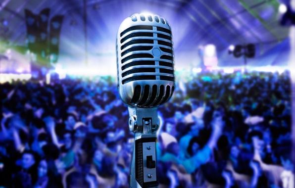 Picture macro, light, retro, music, scene, glow, positive, blur, concert, hall, microphone, the audience, bokeh, wallpaper., …