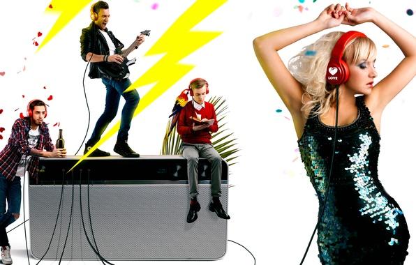 Picture girl, guitar, dance, headphones, guys