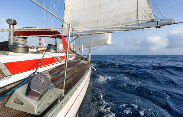 Picture sea, wave, the sky, clouds, squirt, the wind, stay, speed, yacht, horizon, space, sail, deck, ...