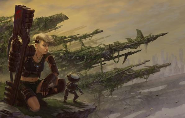 Picture girl, weapons, robot, art, postapokalipsis, Javier Charro