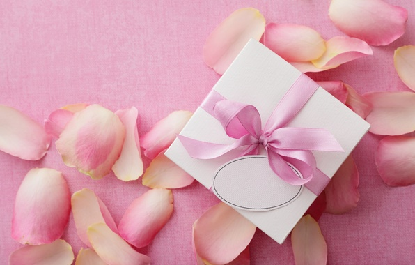 Picture love, gift, roses, love, rose, heart, pink, romantic, Valentine's Day, petals, delicate