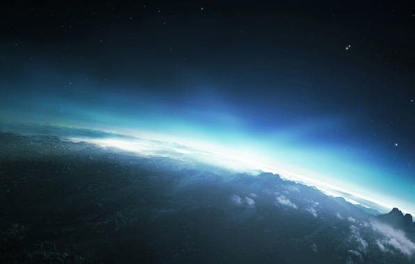 Picture the sky, the sun, stars, clouds, light, mountains, sunrise, planet