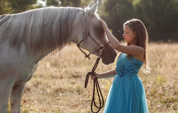 Picture nature, horse, girl