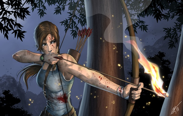 Picture face, weapons, fire, blood, hair, Mike, bow, art, arrows, aiming, ponytail, Lara Croft, Lara Croft, …