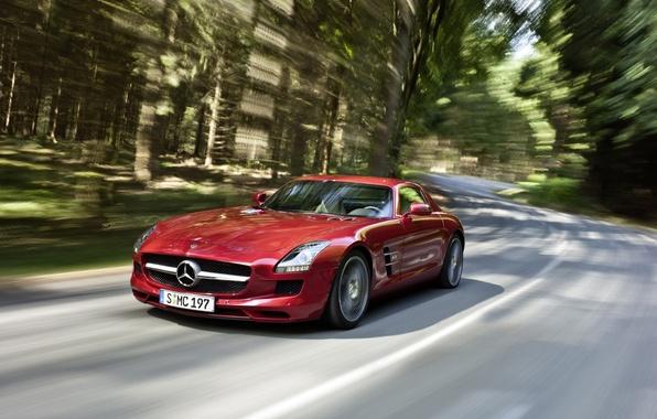 Picture red, speed, Mercedes, Benz, SLS AMG