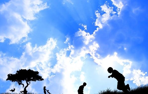 Picture the sky, vector, Children