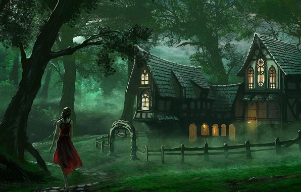 Picture forest, pose, Girl, dress, house